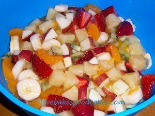 Fruit salad in a blue bowl