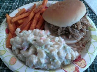 Pulled pork sandwich with potato salad and french fries on plate