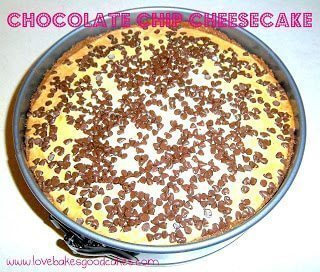 Chocolate chip cheesecake in pan