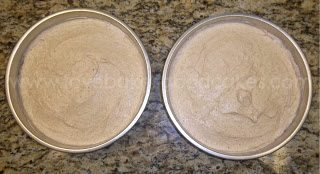 Snickerdoodle cake batter in cake pans on counter top view
