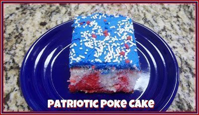 Patriotic Poke Cake with blue frosting and red, white and blue sprinkles on blue plate