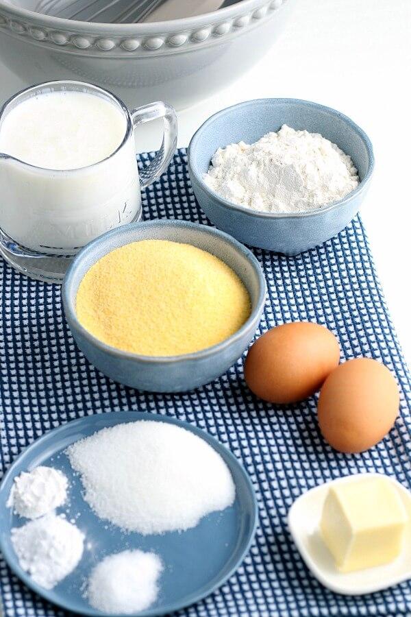 ingredients to make cornmeal pancakes