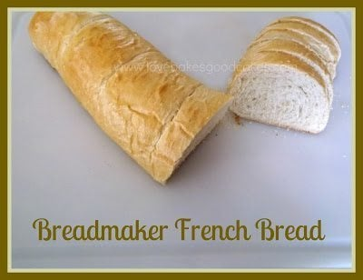 Breadmaker French Bread roll sliced in half on counter top