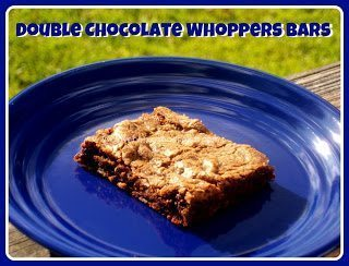 Double chocolate whoppers bars on blue plate