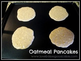 Oatmeal Pancakes cooking on griddle