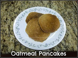 Oatmeal Pancakes stacked on white plate