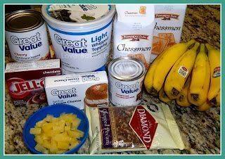 No-Bake Banana Split Dessert ingredients on counter top.