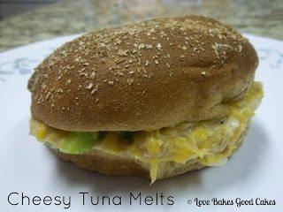 Cheesy Tuna Melt sandwich on white plate