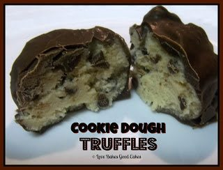 Cookie Dough Truffles sliced in half on plate