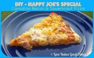 Happy Joe's Special pizza slice on blue plate