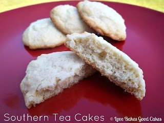 Southern Tea Cakes broken open and stacked on red plate