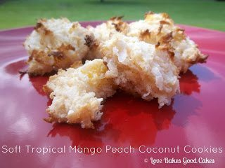 Soft Tropical Mango Peach Coconut Cookies on red plate