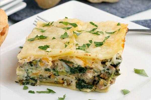 alfredo lasagna on plate