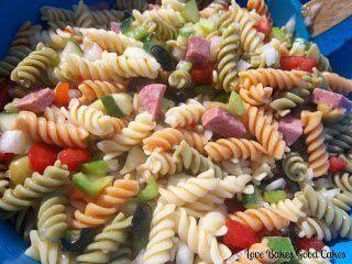 Italian Pasta Salad in blue bowl close up