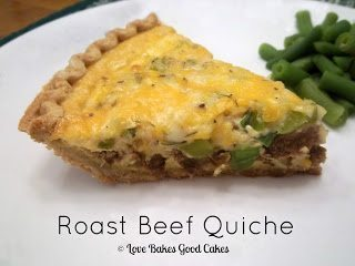 Roast Beef Quiche piece with green beans on white plate