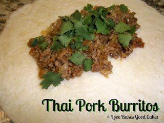 Thai Pork Burritos with cilantro inside open flour tortilla on plate