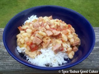 White Beans with Rice in blue bowl