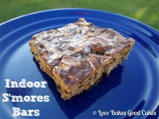 Indoor S'mores Bars on blue plate.
