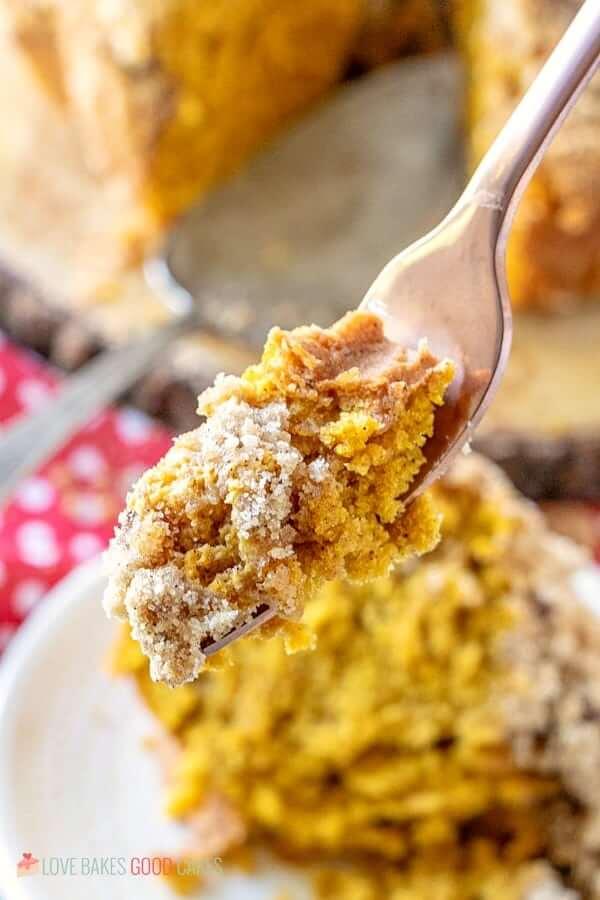 Pumpkin Streusel Coffee Cake piece on fork close up.