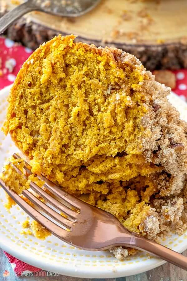Pumpkin Streusel Coffee Cake piece on plate with fork.