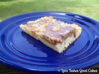 Apple Pie Bar on blue plate.