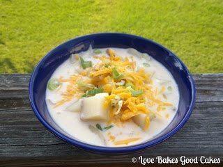 Potato Soup in blue bowl.