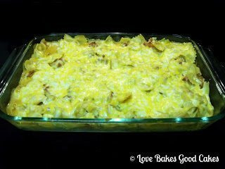 BBQ Chicken Bacon Pasta Bake with Dimples BBQ Sauce in casserole dish in oven.