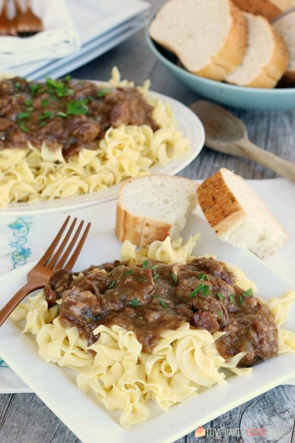 Sauerbraten Beef in Gravy over Noodles