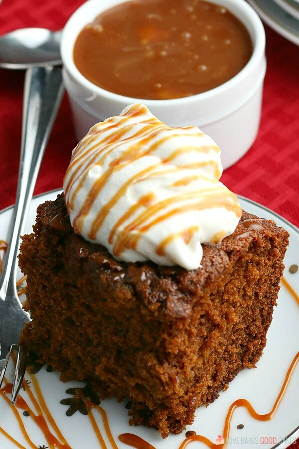 gingerbread with whipped cream and caramel