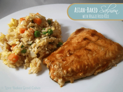Asian-Baked Salmon with Veggie Fried Rice on plate.