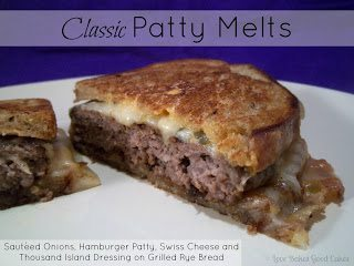 Classic Patty Melt on white plate.