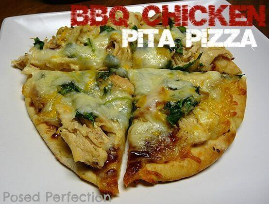 Quick & Easy BBQ Chicken Pita Pizza sliced on white plate.