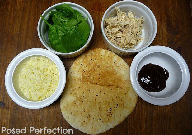 Quick & Easy BBQ Chicken Pita Pizza raw ingredients on counter top.