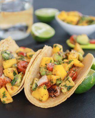 Mahi Mahi Fish Tacos with Chipotle Mango Salsa close up.