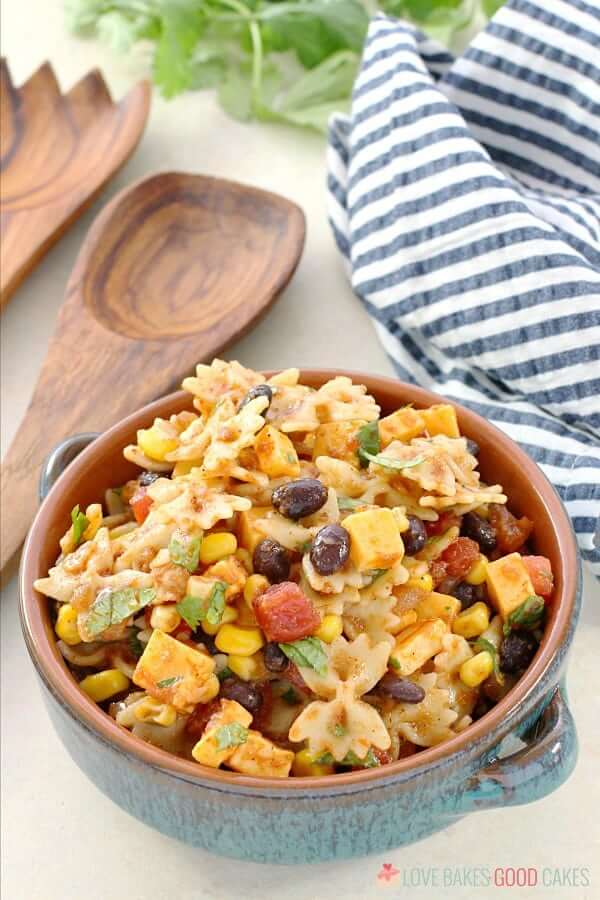Taco Pasta Salad in bowl with spoon.