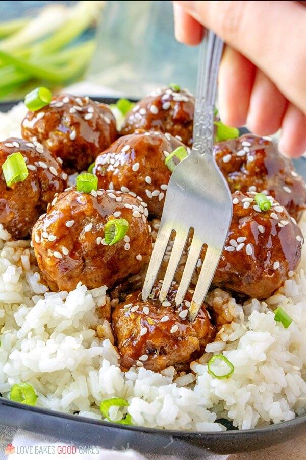 fork in Sticky Asian Glazed Meatballs