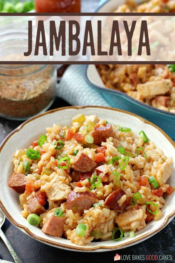 Jambalaya in bowl close up with detail.