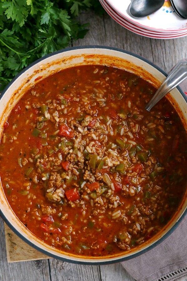 pot of stuffed pepper soup