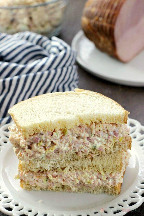 Iowa Ham Salad sandwich on a plate.