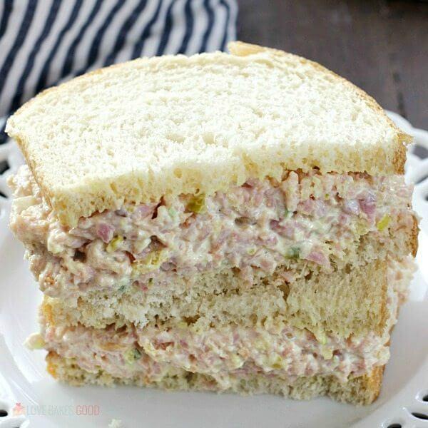 Iowa Ham Salad sandwich on a plate close up.