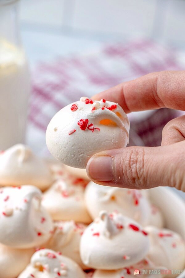 Peppermint Meringue Cookies ready for a holiday cookie tray