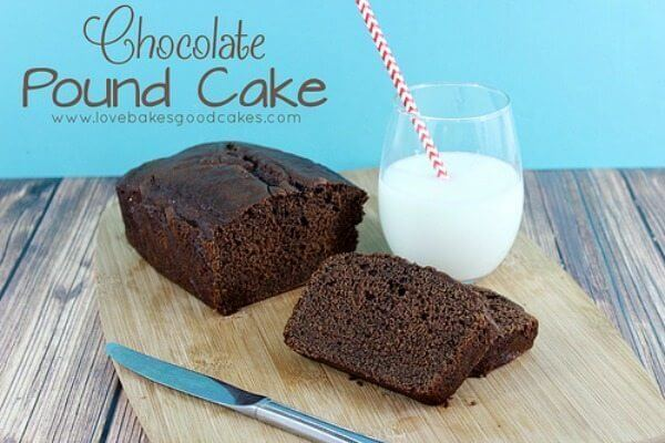 Chocolate Pound Cake loaf on cutting board with a glass of milk.