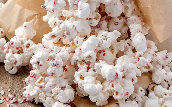 closeup of White Chocolate Peppermint Popcorn