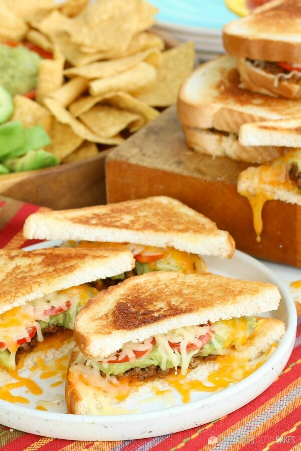 Taco Stuffed Grilled Cheese Sandwiches ready to serve