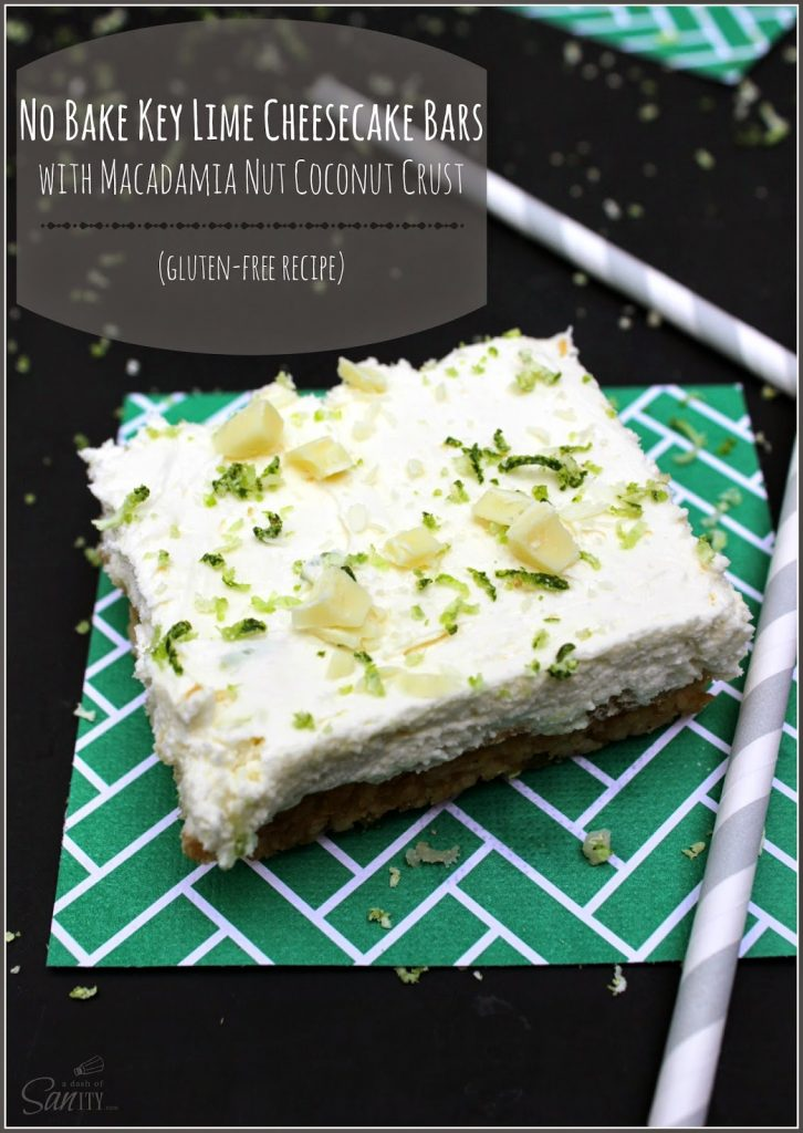 No Bake Key Lime Cheesecake Bar on a green napkin.