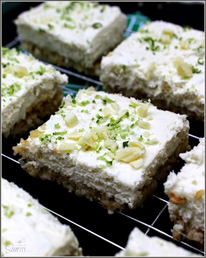 No Bake Key Lime Cheesecake Bars on cooling rack close up.