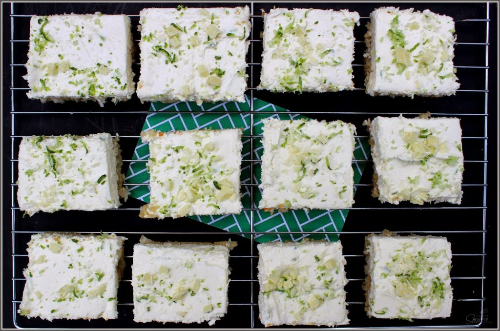 No Bake Key Lime Cheesecake Bar on a cooling rack looking top down.