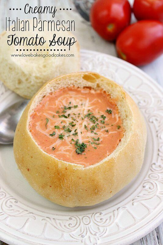 {Slow Cooker} Creamy Italian Parmesan Tomato Soup with Parmesan Bread Bowls