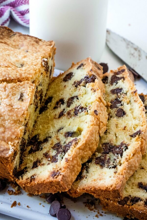 sliced loaf of chocolate chip pound cake