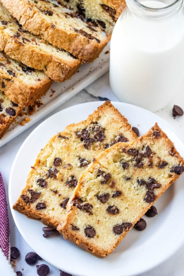 two slices of chocolate chip pound cake on white plate